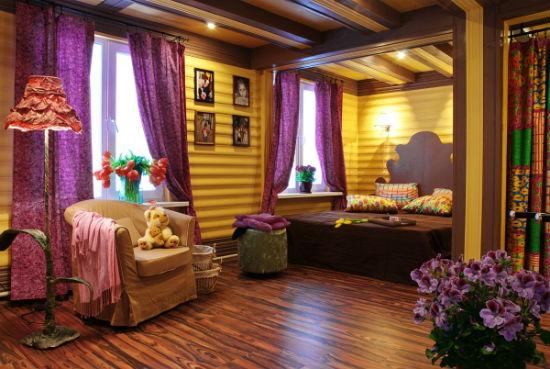 Блок хаус в отделке жилой мансарды