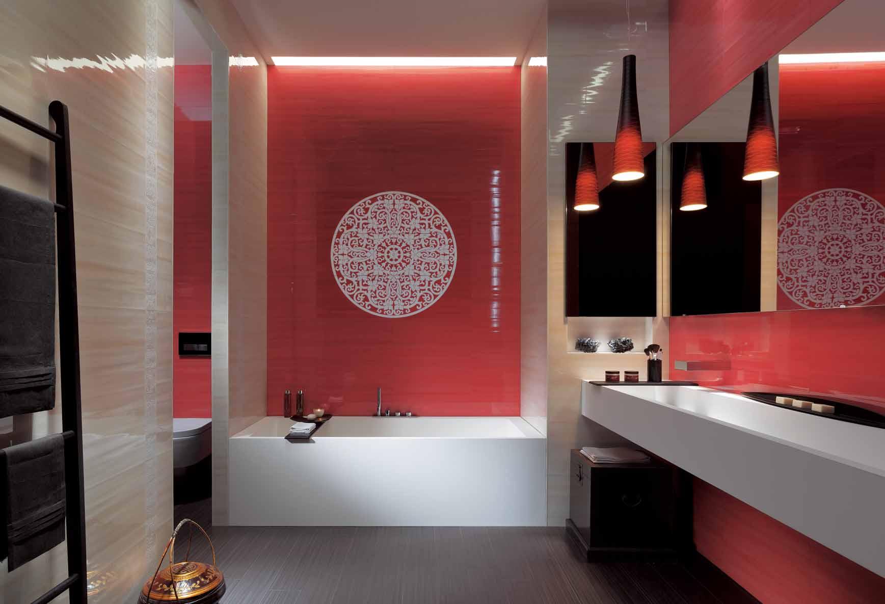 Дизайн ванной комнаты плиткой в комбинации цвета
