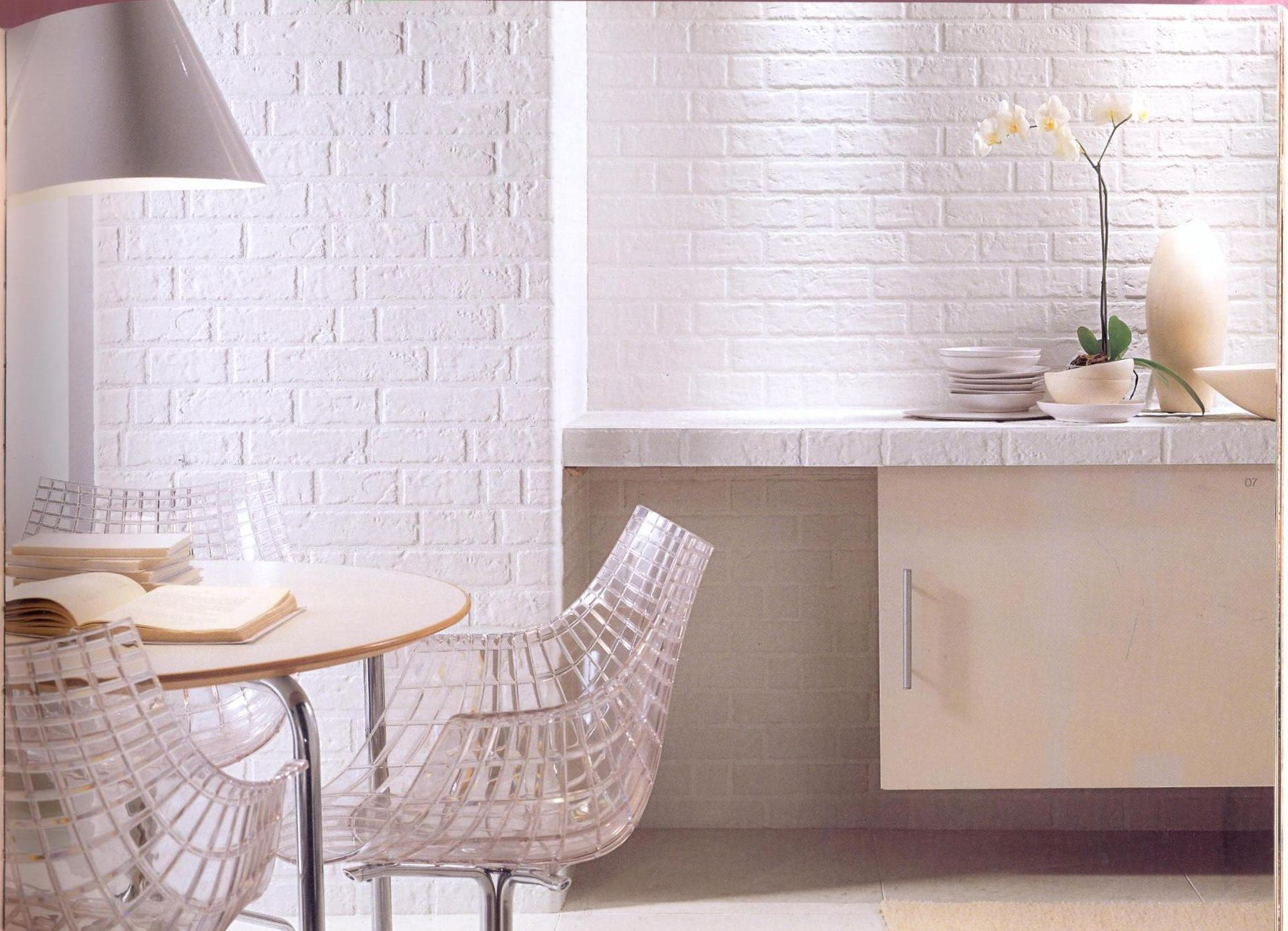Керамическая плитка под кирпич в кухне