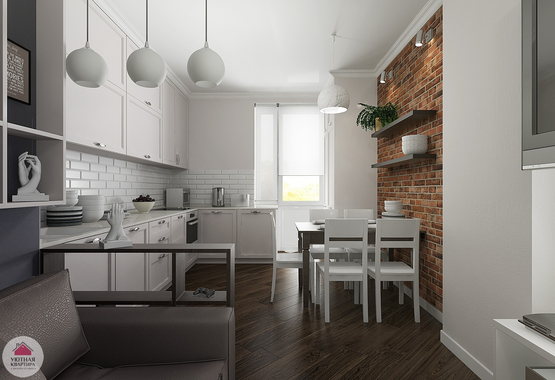 Кирпичная кладка в обеденной зоне внесет долю расслабленности в белый интерьер кухни столовой