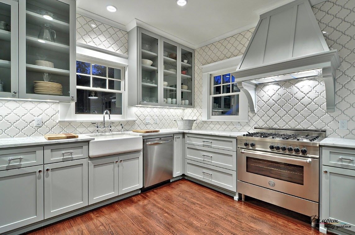 Красивый дизайн плитки на кухне