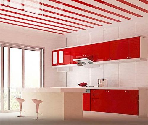 Кухня в бело-красном цвете