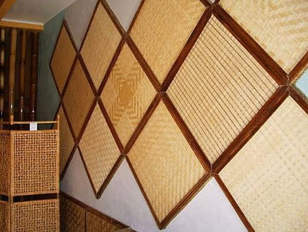 Бамбуковые плиты и панели - натуральные обои, бамбуковое пол.