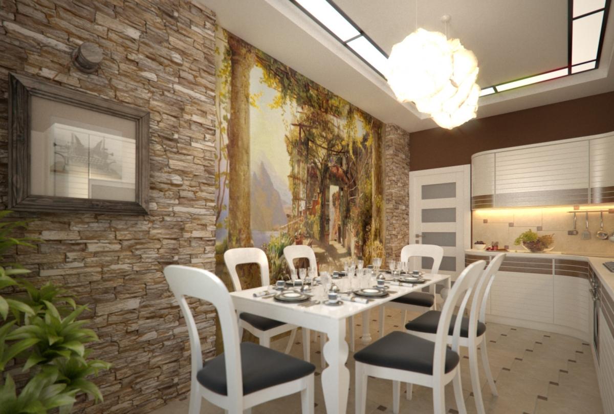 Отделка стен кухни декоративным камнем своими руками