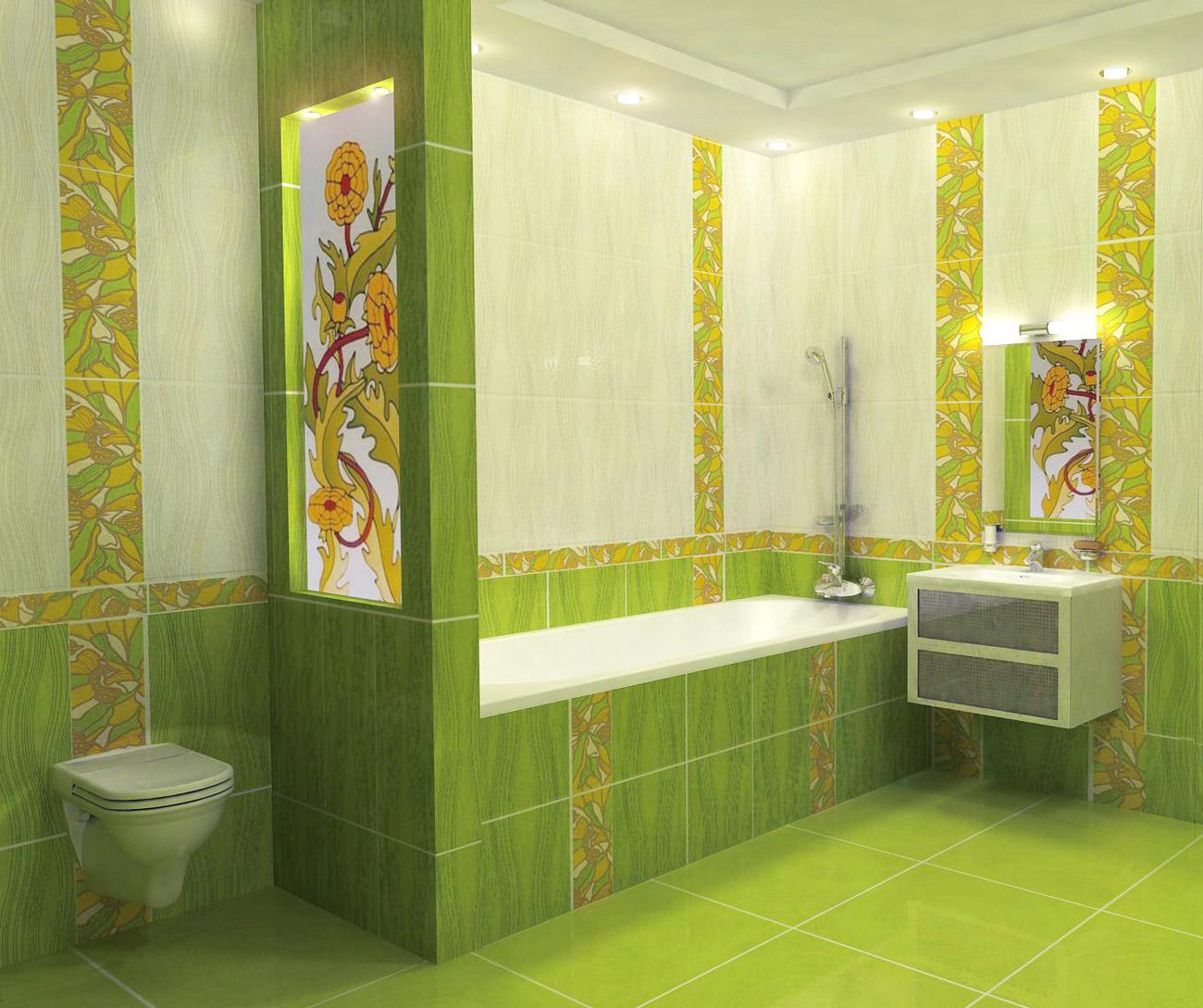 Отделка ванной комнаты плиткой, дизайн