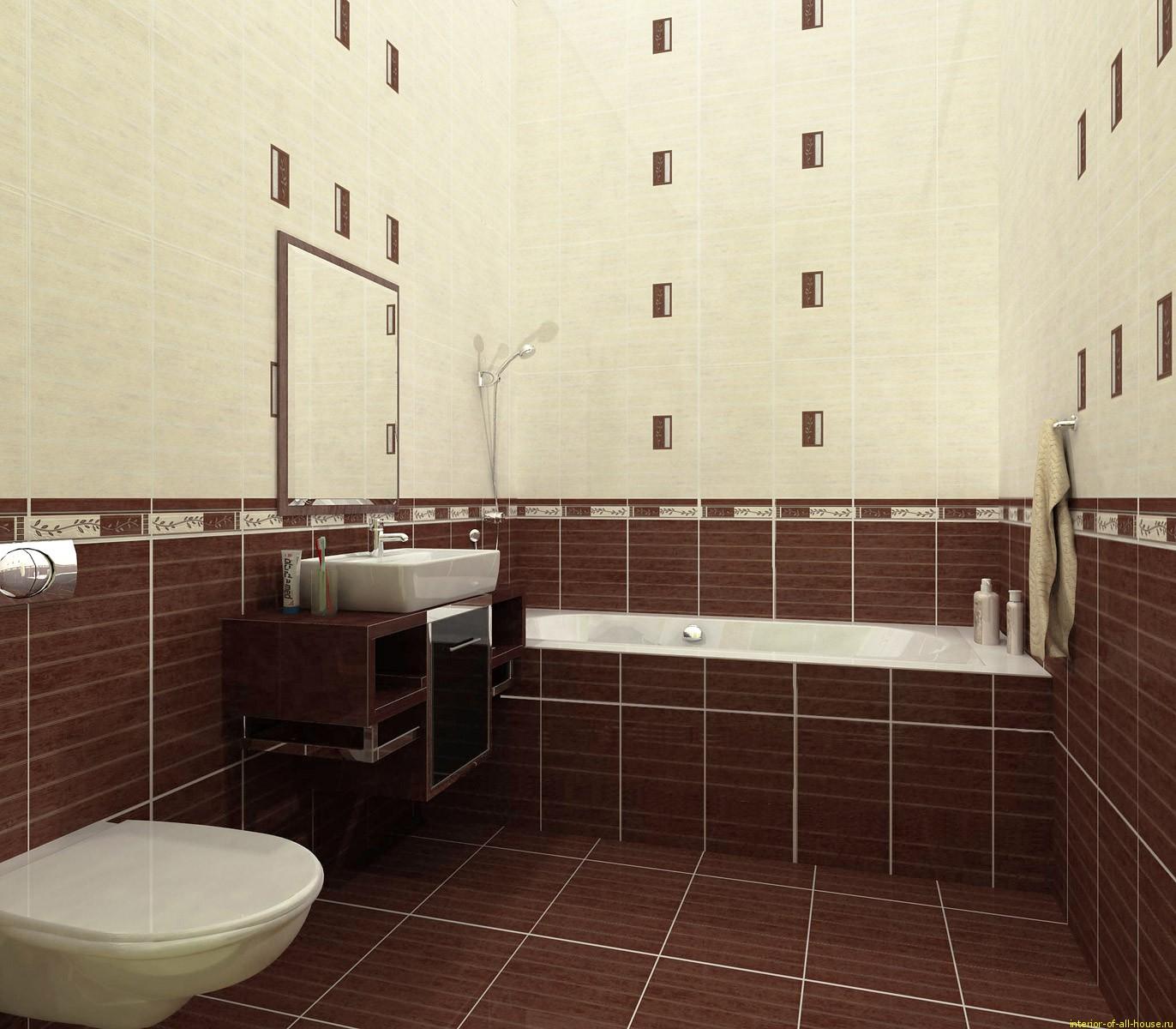 Плитка коричневого цвета для маленькой ванной комнаты