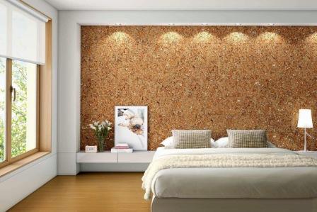 Пробковые стеновые панели имеют бархатистую поверхность