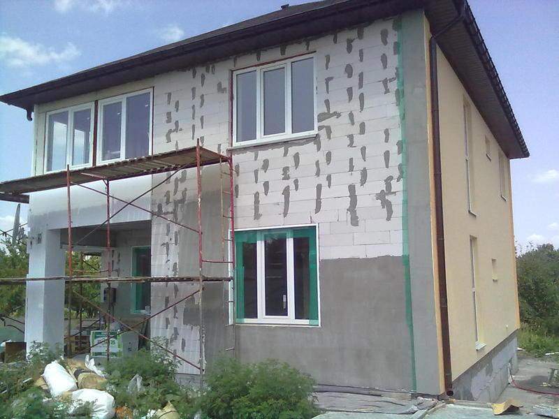 Штукатурка дома из газобетона