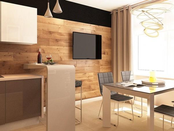Стена в кухне, отделанная ламинатом