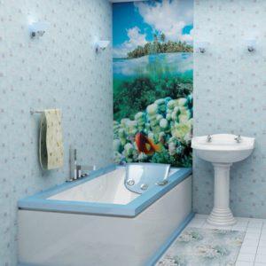 Ванная комната обделанная пластиковыми панелями