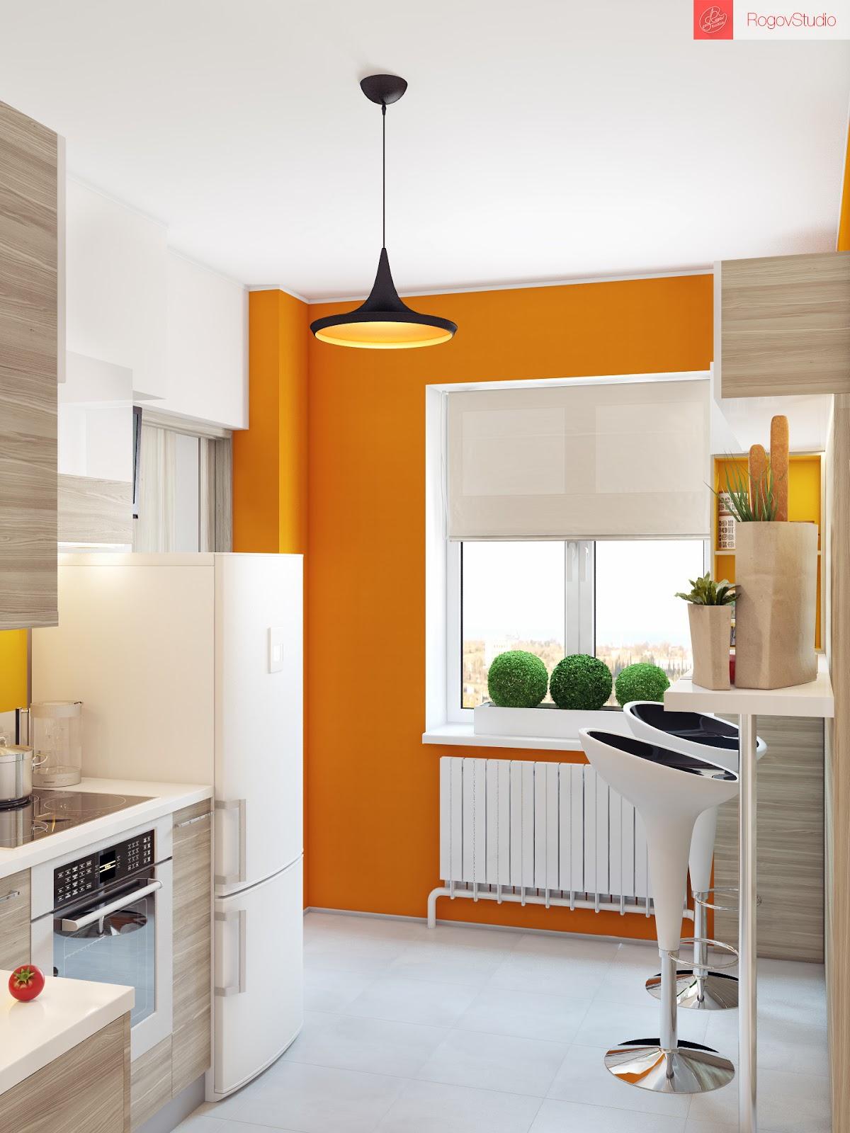 Яркая краска на стенах кухни