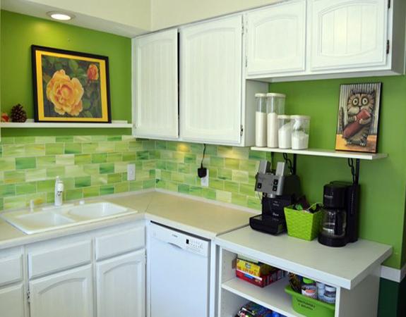 Зеленый кафель для кухни