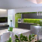 Дизайн современной квартиры зеленого цвета
