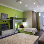 Интерьер красивой квартиры зеленого цвета
