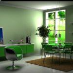 Красивый интерьер квартиры в зеленом цвете