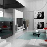 Квартира белого цвета с дизайном, имеющим яркие элементы