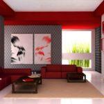 Квартира красного насыщенного цвета со стильным дизайнои