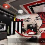 Необычный современный дизайн красной квартиры
