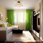 Однокомнатная квартира с зеленым дизайном