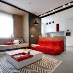 Современный дизайн красной квартиры