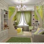 Светлый красивый дизайн современной зеленой квартиры