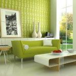 Свежесть современного дизайна квартиры зеленого цвета