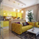 Яркая желтая квартира с оригинальным дизайном