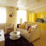 Солнечное настроение желтого дизайна квартиры
