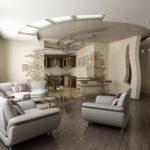Бежево-коричневый дизайн просторной квартиры