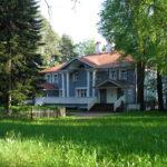 Частный голубой большой дом с ярким дизайном