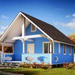 Деревянный дом голубого цвета