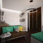 Дизайн-проект квартиры в стиле лофт бирюзового цвета