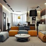 Дизайн современной оранжевой квартиры