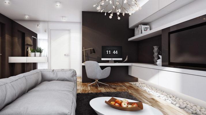 Эффектный дизайн коричневой квартиры
