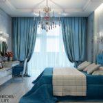 Эффектный дизайн современной голубой квартиры