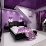 Фиолетовый цвет квартиры с красивым дизайном