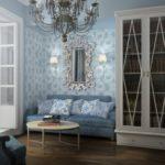 Голубая квартира с эффектным дизайном