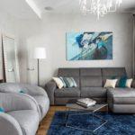 Голубая квартира с красивым современным дизайном