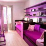 Интерьер квартиры с красивым фиолетовым дизайном