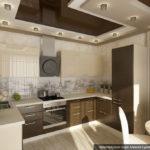 Квартира бежевого цвета с оригинальным дизайном