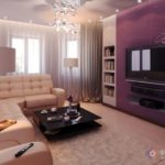 Квартира фиолетового цвета с красивым дизайном