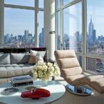 Квартира с красивым дизайном голубого цвета