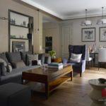 Квартира серого цвета с оригинальным дизайном