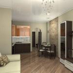 Квартира-студия с красивым коричневым дизайном