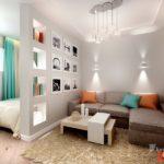 Маленькая квартира с дизайном в бирюзовом цвете