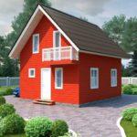 Маленький оранжевый дом с приятным дизайном