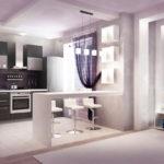 Модный дизайн фиолетовой квартиры