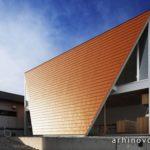Необычный дизайн оранжевого дома