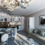 Необычный дизайн серой квартиры