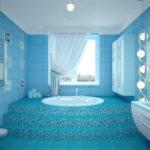 Однотонный дизайн голубой квартиры